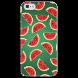 "Чехол для iPhone 5 глянцевый, с полной запечаткой ""Fruity mood"" - арт, лето, зеленый, арбуз, watermelon"