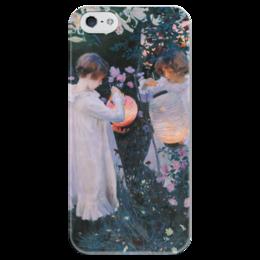 """Чехол для iPhone 5 глянцевый, с полной запечаткой """"Гвоздика, лилия, лилия, роза"""" - картина, сарджент"""