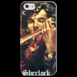 """Чехол для iPhone 5 глянцевый, с полной запечаткой """"Sherlock"""" - bbc, sherlock, шерлок, sherlock holmes, шерлок холмс, детектив, холмс, uk, камбербэтч"""