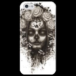 """Чехол для iPhone 5 глянцевый, с полной запечаткой """"Santa Muerte """" - череп, девушка, смерть, санта муерте"""