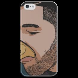 """Чехол для iPhone 5 глянцевый, с полной запечаткой """"Дрейк пьет из кубка"""" - стиль, дрейк, нарисован"""