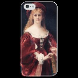 """Чехол для iPhone 5 глянцевый, с полной запечаткой """"Портрет аристократки из Венеции"""" - картина, кабанель"""