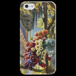 """Чехол для iPhone 5 глянцевый, с полной запечаткой """"Цветы на фоне озера"""" - картина, вещилов"""