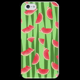 """Чехол для iPhone 5 глянцевый, с полной запечаткой """"Арбуз"""" - полоска, красный, ягода, зеленый, семена"""