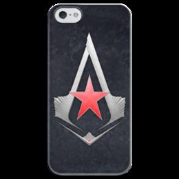 """Чехол для iPhone 5 глянцевый, с полной запечаткой """"Ассасины (вариация на тему)"""" - красная звезда, ассасины"""