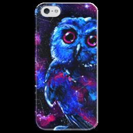 """Чехол для iPhone 5 глянцевый, с полной запечаткой """"Space Owl"""" - звезды, космос, сова, птички, совенок"""