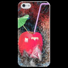 """Чехол для iPhone 5 глянцевый, с полной запечаткой """"Яблочный микс"""" - напиток, абстракция, яблоко, фрукт, натюрморт"""