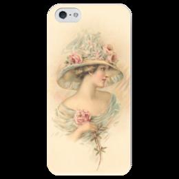 """Чехол для iPhone 5 глянцевый, с полной запечаткой """"Леди и роза"""" - девушка, роза, винтаж, леди, цыеты"""