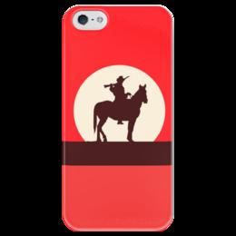 """Чехол для iPhone 5 глянцевый, с полной запечаткой """"Ковбой"""" - ковбой, вестерн, кино, дикий запад"""