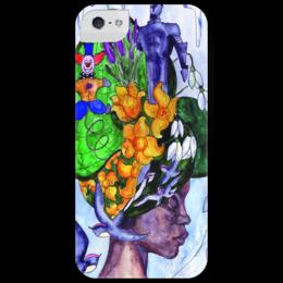 """Чехол для iPhone 5 глянцевый, с полной запечаткой """"Miss_April"""" - любовь, девушка, цветы, стиль, женская, рисунок, девушке, времена года, color, апрель"""