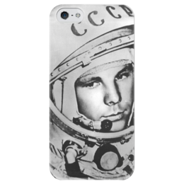 """Чехол для iPhone 5 глянцевый, с полной запечаткой """"Гагарин"""" - гагарин, yuri gagarin, космонавт, герой"""