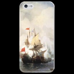 """Чехол для iPhone 5 глянцевый, с полной запечаткой """"Бой в Хиосском проливе"""" - картина, айвазовский"""