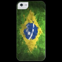 """Чехол для iPhone 5 глянцевый, с полной запечаткой """"Бразилия"""" - футбол, флаг, бразилия, brazil, brasil, flag, football"""