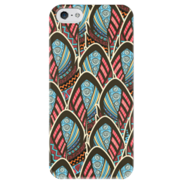 "Чехол для iPhone 5 глянцевый, с полной запечаткой ""Перья Бохо"" - перо, перья, бохо, майя"