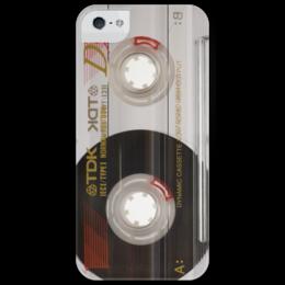 """Чехол для iPhone 5 глянцевый, с полной запечаткой """"аудио-кассета ретро"""" - old school, кассета, audio, tape, cassette, чехол аудио-кассета, чехол ретро, чехол iphone аудио-кассета, компакт-кассета"""