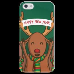 """Чехол для iPhone 5 глянцевый, с полной запечаткой """"С Новым годом!"""" - праздник, новый год, радость, денис гесс, дизайн гесс"""