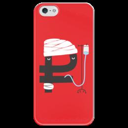 """Чехол для iPhone 5 глянцевый, с полной запечаткой """"Рубль не болей"""" - россия, курс, рубль"""