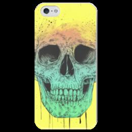 """Чехол для iPhone 5 глянцевый, с полной запечаткой """"Череп"""" - skull, череп, поп арт, pop art"""