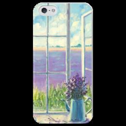 """Чехол для iPhone 5 глянцевый, с полной запечаткой """"Безмятежность лавандового утра """" - любовь, весна, природа, лаванда"""
