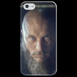 """Чехол для iPhone 5 глянцевый, с полной запечаткой """"Рагнар"""" - история, викинги, путь воина, рагнар, сериал викинги"""