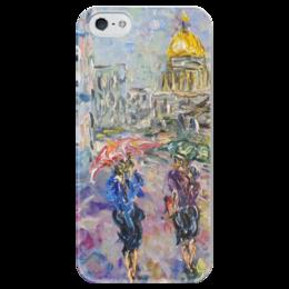 """Чехол для iPhone 5 глянцевый, с полной запечаткой """"Питерский дождь"""" - девушки, питер, улица, дождь, rain, санкт-петербург, saint petersburg, зонты"""