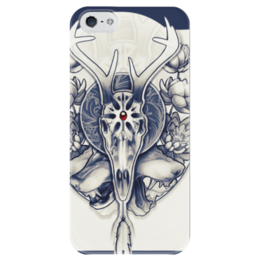 "Чехол для iPhone 5 глянцевый, с полной запечаткой ""Deer's skull"" - skull, череп, арт, deer, horns, antler, оленьи рога"