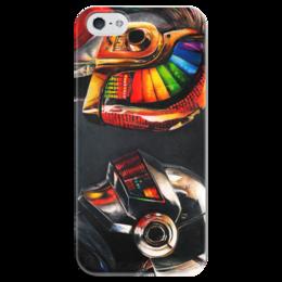"Чехол для iPhone 5 глянцевый, с полной запечаткой ""Daft Punk"" - музыка, цвет, daft punk, дафт панк, электроника"