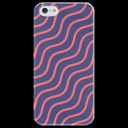 """Чехол для iPhone 5 глянцевый, с полной запечаткой """"Волнистый"""" - узор, рисунок, полосы, стильный, волны"""