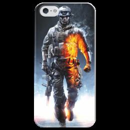 "Чехол для iPhone 5 глянцевый, с полной запечаткой ""Солдат (Battlefield)"" - армия, война, солдат, bf, battle field"