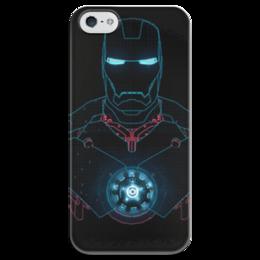 """Чехол для iPhone 5 глянцевый, с полной запечаткой """"IRONMAN"""" - marvel, марвел, железный человек, tony stark, тони старк, ironman"""
