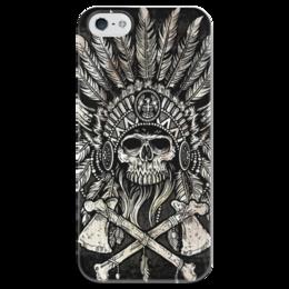 """Чехол для iPhone 5 глянцевый, с полной запечаткой """"Вождь"""" - череп, вождь, томогавки, парадный головной убор"""