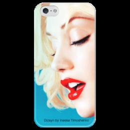 """Чехол для iPhone 5 глянцевый, с полной запечаткой """"Гвен Стефани"""" - губы, гвен стефани, инесса тимошенко, gwen stefani, red, sexy"""