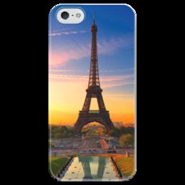 """Чехол для iPhone 5 глянцевый, с полной запечаткой """"Париж"""" - париж, эйфелева башня, елисейские поля"""