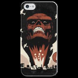 """Чехол для iPhone 5 глянцевый, с полной запечаткой """"Red skull / Красный череп / Marvel"""" - война, комикс, war, marvel, суперзлодей, красный череп, red skull"""