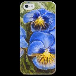 """Чехол для iPhone 5 глянцевый, с полной запечаткой """""""" Анютины глазки """""""" - анютины глазки, цветы, рисунок"""