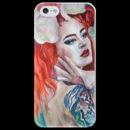 """Чехол для iPhone 5 глянцевый, с полной запечаткой """"Девушка"""" - арт, лицо, рисунок, краски, природа, татуировка, тату, акварель, русалка, red hair"""
