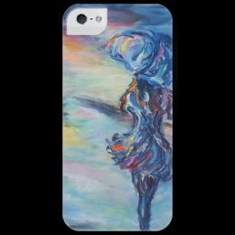 """Чехол для iPhone 5 глянцевый, с полной запечаткой """"Навстречу счастью"""" - любовь, девушка, дождь, color, rain"""