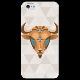 """Чехол для iPhone 5 глянцевый, с полной запечаткой """"Телец"""" - этно, рога, телец, знак зодиака, бык"""