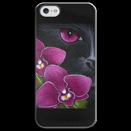 """Чехол для iPhone 5 глянцевый, с полной запечаткой """"Чёрная кошка и орхидеи"""" - рисунок, мистика, орхидеи, чёрная кошка"""