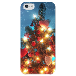 "Чехол для iPhone 5 глянцевый, с полной запечаткой ""Ёлочка"" - новый год, ёлочка, чехол"