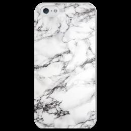 """Чехол для iPhone 5 глянцевый, с полной запечаткой """"Белый мрамор"""" - серый, белый, черный"""