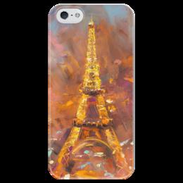 """Чехол для iPhone 5 глянцевый, с полной запечаткой """"Эйфелева Башня"""" - франция, париж, paris, эйфелева башня, огни парижа"""