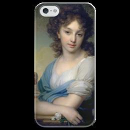 """Чехол для iPhone 5 глянцевый, с полной запечаткой """"Портрет Е.А.Нарышкиной"""" - картина, боровиковский"""