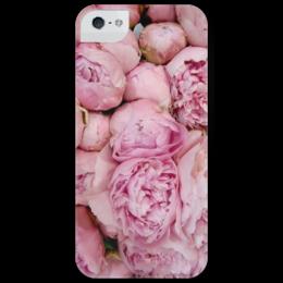 """Чехол для iPhone 5 глянцевый, с полной запечаткой """"цветочный принт """" - женская, прикольные, девушке, pink, roses"""