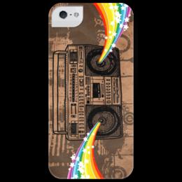 "Чехол для iPhone 5 глянцевый, с полной запечаткой ""диско магнитофон"" - ретро чехол, диско чехол iphone, recorder, tape recorder, old school, boombox, jambox, бумбокс"