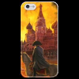 """Чехол для iPhone 5 глянцевый, с полной запечаткой """"Наполеон. Пожар в Москве. 1812"""" - москва, наполеон, 1812, пожар, отечественная война"""