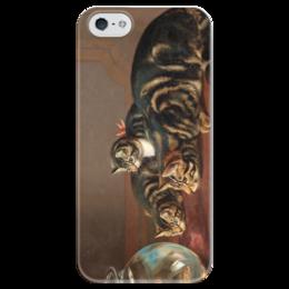 """Чехол для iPhone 5 глянцевый, с полной запечаткой """"Cats by a fishbowl"""" - картина, коулдри"""