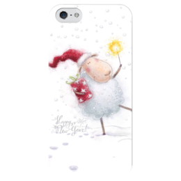 "Чехол для iPhone 5 глянцевый, с полной запечаткой ""happy new year"" - happy new year, с новым годом, sheep, 2015, овечка"