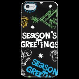 """Чехол для iPhone 5 глянцевый, с полной запечаткой """"Новогодний case"""" - новый год, рождество, new year, christmas, ёлка"""