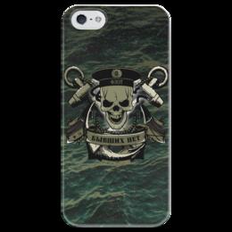 """Чехол для iPhone 5 глянцевый, с полной запечаткой """"ФЛОТ!!!"""" - череп, якорь, флаг, флот, бескозырка"""